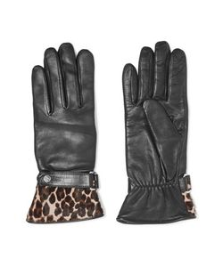 Agnelle | Alexa Leopard-Print Calf Hair-Trimmed Leather Gloves