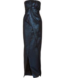 J. Mendel   J Mendel Wrap-Effect Metallic Cotton-Blend Gown