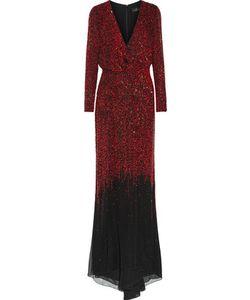 J. Mendel   J Mendel Wrap-Effect Sequined Silk-Georgette Gown