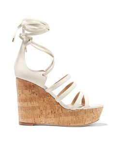 Tamara Mellon | Yosemite Leather And Cork Wedge Sandals Off-