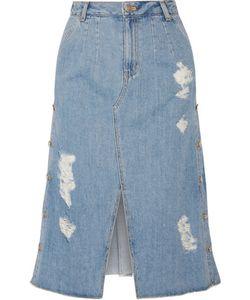 Steve J & Yoni P | Distressed Denim Midi Skirt
