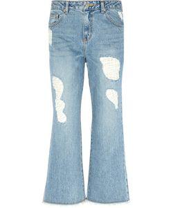 Steve J & Yoni P | Distressed Wide-Leg Jeans Mid