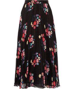 Tanya Taylor | Pleatedprint Checked Silk-Mousseline Maxi Skirt