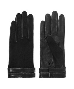 Agnelle | Gisele Zip-Trimmed Leather And Silk Gloves