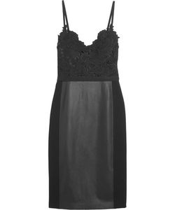 Catherine Deane | Gwen Guipure Lace Faux Leather And Jersey Dress