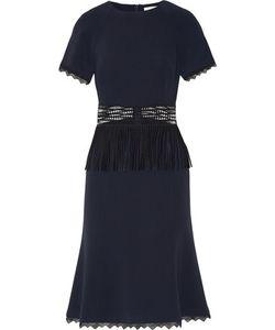 Jonathan Simkhai | Fringed Open Knit-Paneled Crepe Midi Dress Midnight