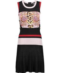 Just Cavalli | Paneled Stretch-Knit And Printed Satin-Twill Dress