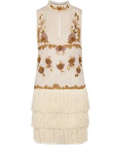 Just Cavalli | Chiffon-Paneled Embellished Tulle Mini Dress