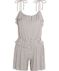 See by Chloé | Ruffled Striped Jersey Playsuit Off-