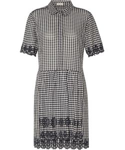 Suno   Broderie Anglaise-Trimmed Gingham Cotton Mini Dress