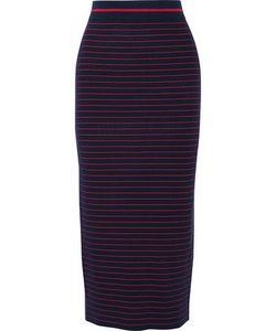Tanya Taylor | Zena Striped Stretch Rib-Knit Midi Skirt Midnight