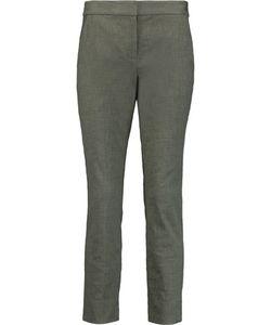Diane von Furstenberg | Gennifer Textu Stretch-Cotton Slim-Leg Pants Army