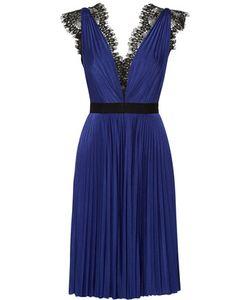 Catherine Deane | Gente Lace-Trimmed Plissé-Satin Dress