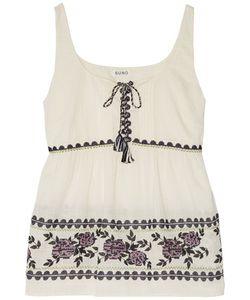 Suno   Gathe Embroide Cotton-Broadcloth Top Off-