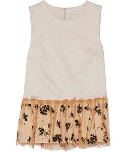 Suno   Embellished Mesh-Trimmed Cotton-Poplin Top Off-