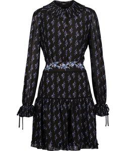 Raoul   Shaza Pointelle-Trimmed Printed Chiffon Mini Dress