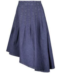 Suno   Asymmetric Pleated Denim Skirt
