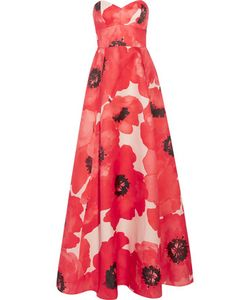 Lela Rose | Strapless Printed Silk Gown