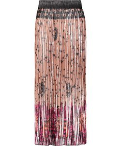 Anna Sui | Pleated Printed Silk And Lamé-Blend Skirt