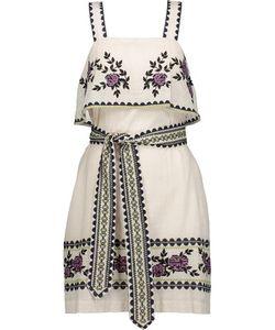 Suno   Embroide Cotton-Broadcloth Mini Dress Off-