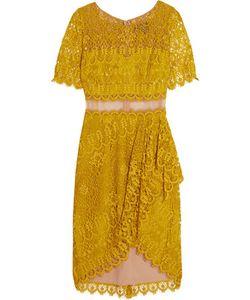 Marchesa Notte | Draped Asymmetric Lace Dress