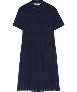 Diane von Furstenberg | Polina Pleated Georgette Mini Dress Midnight