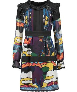 Anna Sui | Lucy In The Sky Lace-Trimmed Printed Georgette Mini