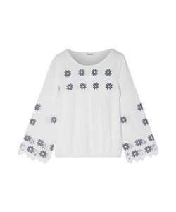 Suno   Embroide Linen And Cotton-Blend Top