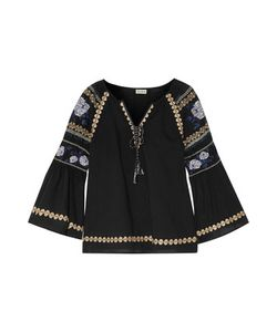 Suno   Pleated Embroide Cotton-Broadcloth Blouse
