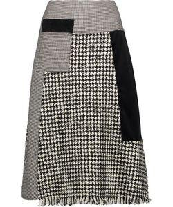Raoul   Fringed Paneled Wool-Blend Tweed Velvet And Houndstooth Skirt
