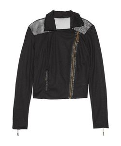 Just Cavalli | Faux Leather-Trimmed Mesh Biker Jacket