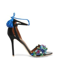 Malone Souliers | Gladys Leather-Trimmed Embellished Satin And Suede Sandals