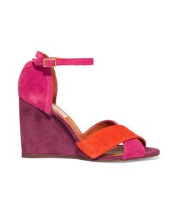 Lanvin | Color-Block Suede Wedge Sandals