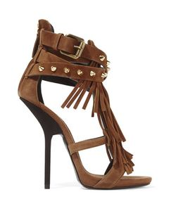 Giuseppe Zanotti | Fringed Studded Suede Sandals