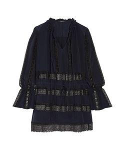 Derek Lam | Lace-Paneled Silk-Crepe Mini Dress