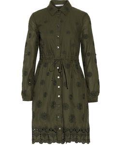 Diane von Furstenberg | Ivanka Pleated Broderie Anglaise Cotton-Blend Mini Dress