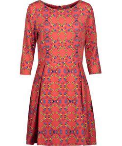 Suno   Pleated Printed Silk-Blend Mini Dress