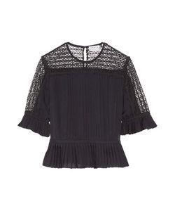 Tanya Taylor | Zohara Pleated Lace-Paneled Silk Top