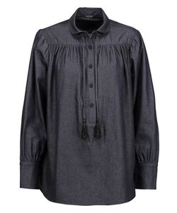 Adam Lippes | Tasseled Cotton-Chambray Blouse