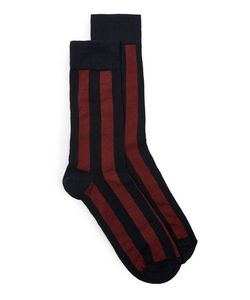 Topman | Mens Navy And Burgundy Bold Stripe Socks
