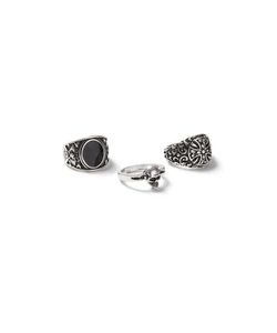 Topman | Mens Antique Look Skull Ring 3 Pack