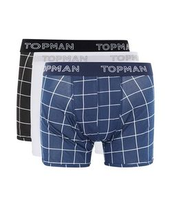 Topman | Mens Multi Navy And Grid Check Trunks 3 Pack