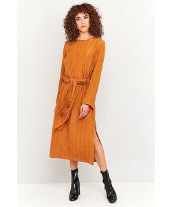 Rodebjer   Gwynne Yellow Silk Belted Midi Dress