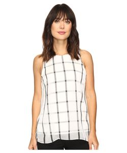 Vince Camuto | Sleeveless Stripe Duet Blouse With Knit Underlay New