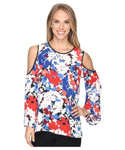 Vince Camuto | Bell Sleeve Nautical Bloom Cold-Shoulder Blouse Antique