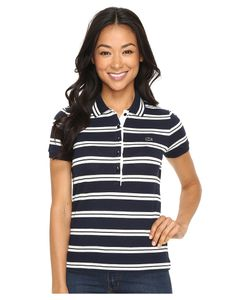 Lacoste   Short Sleeve Striped Slim Fit Polo Shirt Navy /Cake