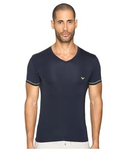 Emporio Armani | Fluo Piping Microfiber V-Neck Marine T Shirt