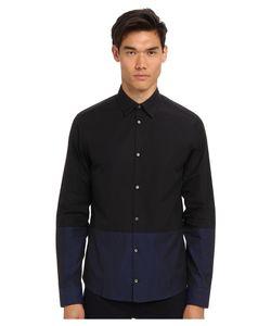 Costume National | Color Block Button Up Shirt /Black Mens Long
