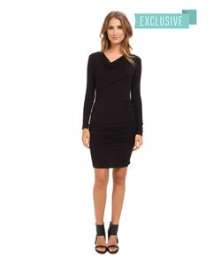 Michael Stars | Exclusive L/S Drape Neck Dress W/ Shirring