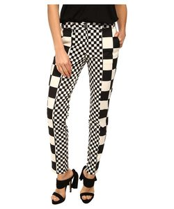 Love Moschino | Checker Print Pant /White Womens Casual Pants
